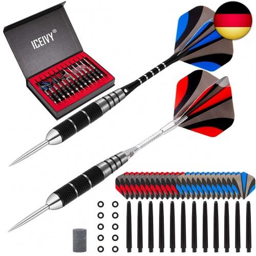12 Stück Steel Tip Darts Set 22 ICEIVY Dartpfeile Dart Pfeile mit Metallspitze