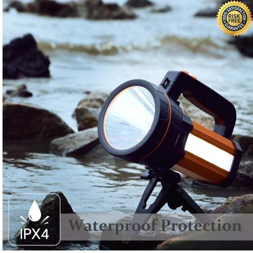 Plateado 5 Modos de Luz Antorcha para Exteriores Antorcha Super brillante IP65 Port/átil Reflector LED 7000 L/úmenes 9000 mAh Linternas Recargables Reflector Impermeable Banco de Energ/ía